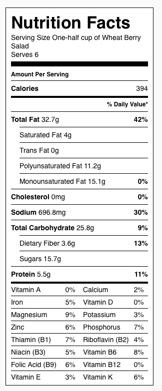 Wheat Berry Salad Nutrition Label. Each serving is one-half cup.
