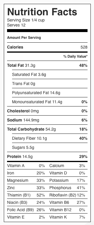 Wheat Berry Salad Nutrition Label. Each serving is 1/4 cup.
