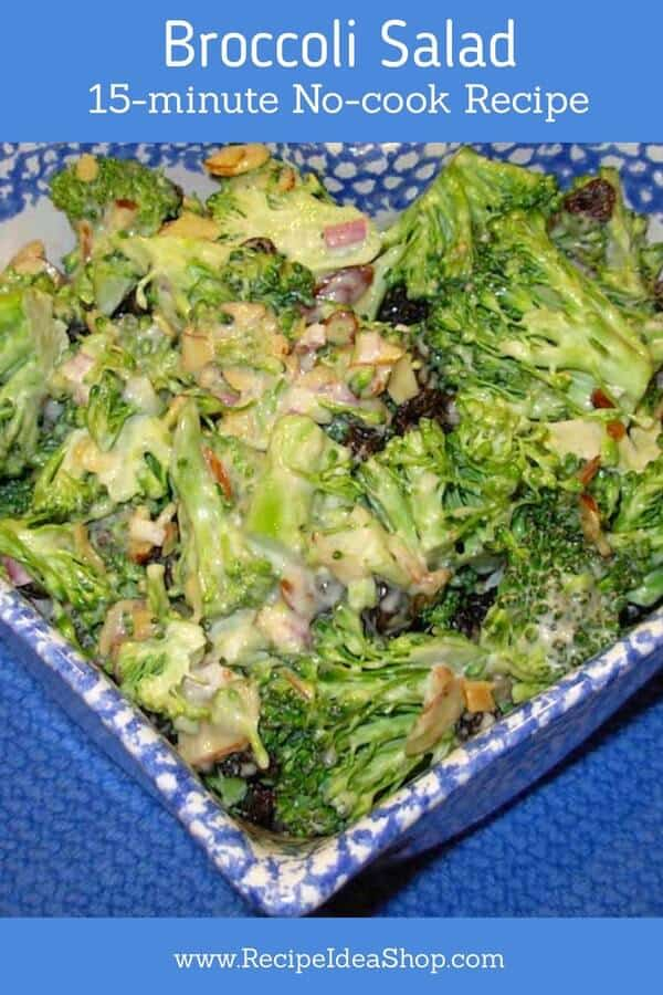 Broccoli Salad. So tasty. Cancer-fighting goodness. Simple, 15-minute, no-cook recipe. #broccolisalad #broccolisaladrecipe #broccolirecipes #saladrecipes #glutenfree #vegetarian #Southerncooking #recipes #recipeideashop