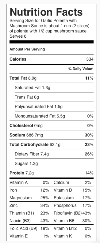 Garlic Polenta with Mushroom Sauce Nutrition Label. Each serving is about 1 cup polenta and 1/2 cup mushroom sauce.