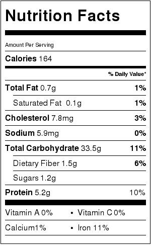 Crusty French Bread Nutrition Label (per slice). 4 loaves, 8 slices per loaf.