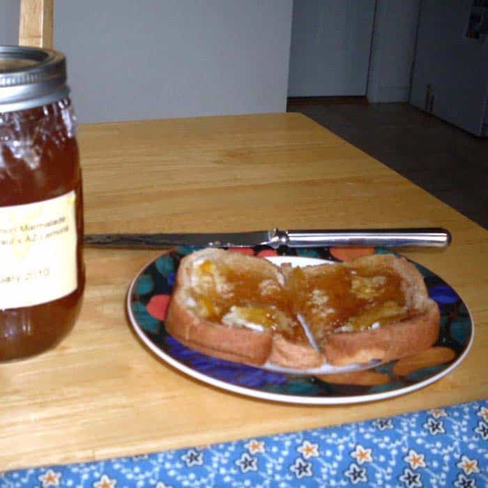 Homemade Lemon Marmalade is wonderful on toast. Photo and recipe by Eileen Dight.