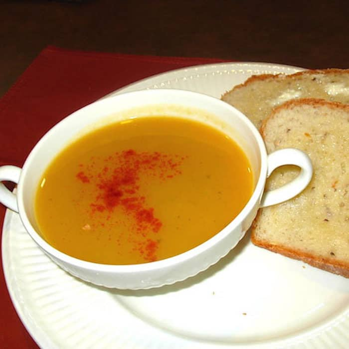 Butternut Squash Soup. Good peasant food for a rainy night's supper.