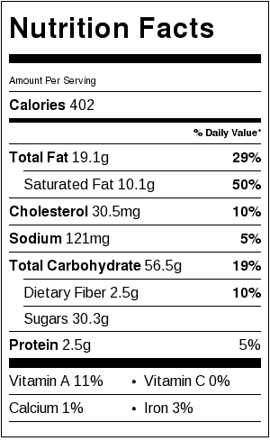 Crumbly Top Apple Pie Nutrition Label. Each serving is 1/8 pie.