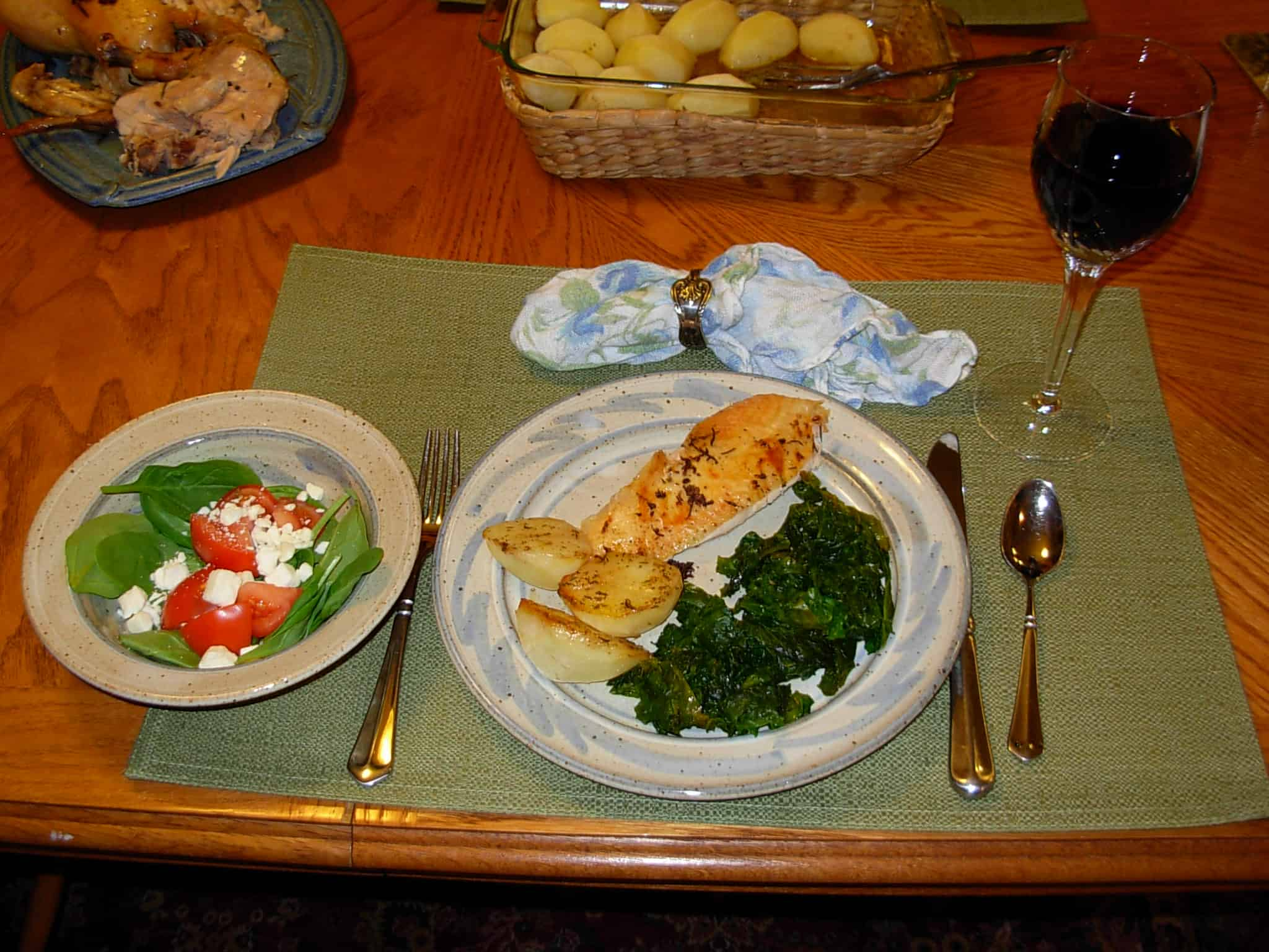 Oven Browned Potatoes, Wilted Kale and Rosemary Chicken. A good, home-cooked meal, better than Mom made.
