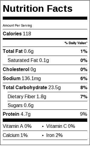Crusty French Roll Nutrition Label. Each serving is one roll.