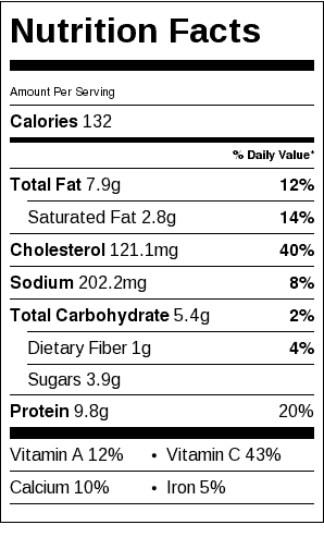 "Cheesy Frittata Nutrition Label. Each serving is about a 3"" x 5"" wedge."
