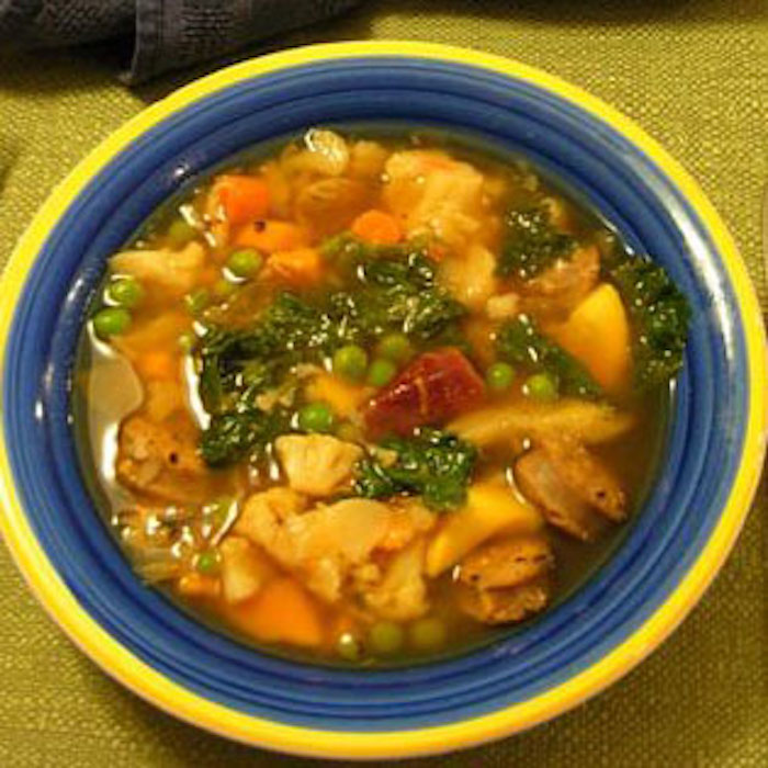 Make Refrigerator Soup with whatever veggies you have. Add some chicken or sausage for extra flavor and protein.