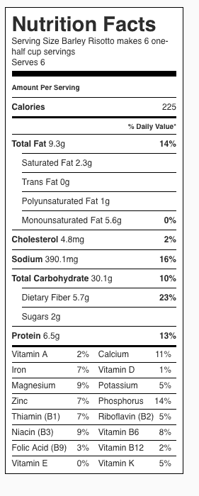 Barley Risotto Nutrition Label. Each serving is about 1/2 cup. Recipe serves 4-6.