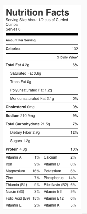 Curried Quinoa Nutrition Label. Each serving is about 1/2 cup.