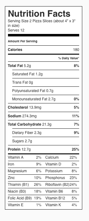 "Homemade Pizza Nutrition Label. Each serving is 2 slices of pizza, about 4"" x 3"" in size."