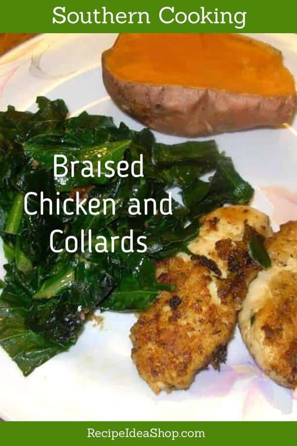 Southern Chicken and Collards. So good! Easy recipe. 35 minutes. #chickenandcollards #collardgreensrecipe #chickenrecipes #southerncooking #recipes #recipeideashop