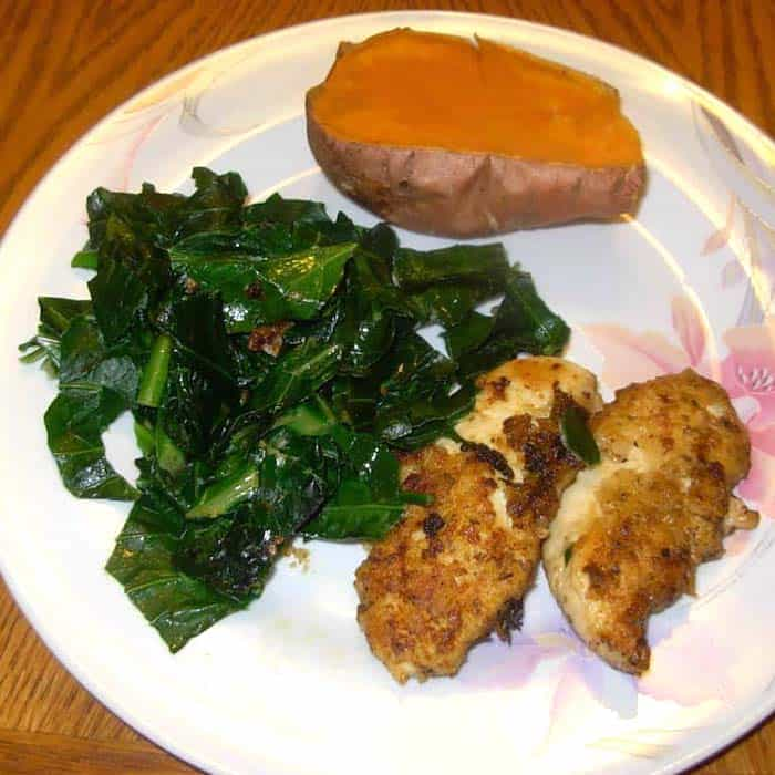 This chicken and collardsrecipe is low fat and full of flavor.