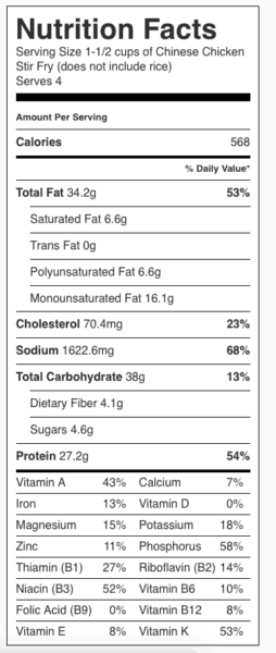 Chinese Chicken Stir Fry Nutrition Label. Each serving is about 1-1/2 cups (does not include rice).