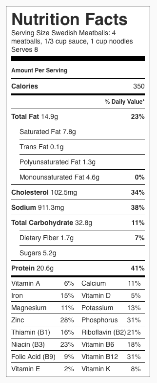 Swedish Meatballs Recipe Nutrition Label. Each serving is about 4 meatballs, 1/3 cup sauce and 1 cup noodles.