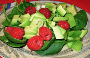 Avocado Raspberry Salad. Top with Poppy Seed Dressing or a good Balsamic Vinegar Dressing.