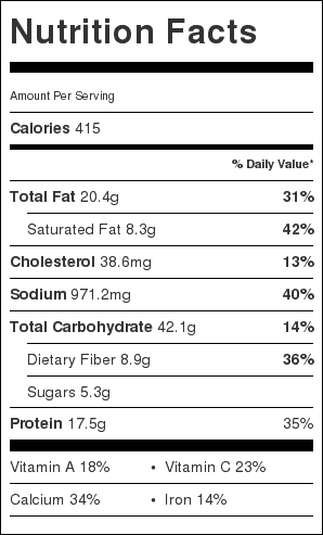 """Taco Casserole with Black Beans and Tortilla Chips Nutrition Label. Each serving is about 3"""" x 3"""" (1/6 the recipe)."""
