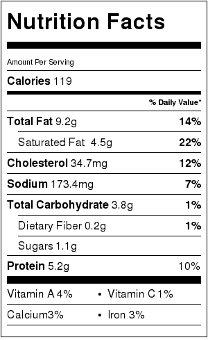 Swedish Meatballs Recipe Nutrition Label (NO NOODLES). Each serving is about 4 meatballs and 1/3 cup sauce.
