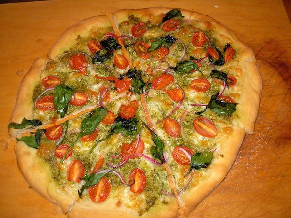 Grape Tomato and Pesto Artisan Pizza