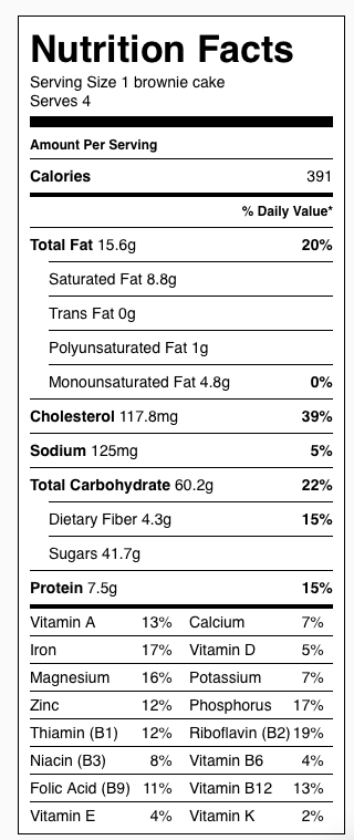 Double Chocolate Brownie Pudding CakesNutrition Label. Each serving is 1/2 cup.