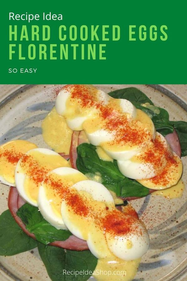 Hard Boiled Eggs Florentine. South Beach compliant. Easy peasy recipe. #hardcookedeggsflorentine #eggsflorentine #southbeach #eggrecipes #recipes #comfortfood #recipeideashop