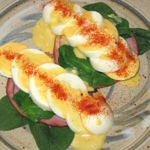 Simple hard cooked eggs Florentine