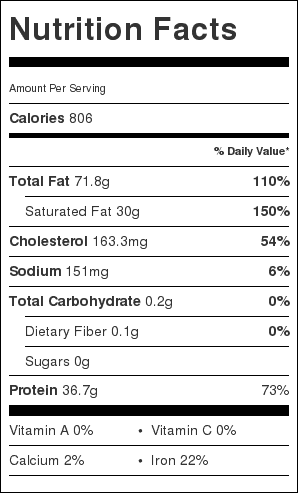 Prime Rib Nutrition Label. Each serving is about 1/2 pound of Prime Rib.