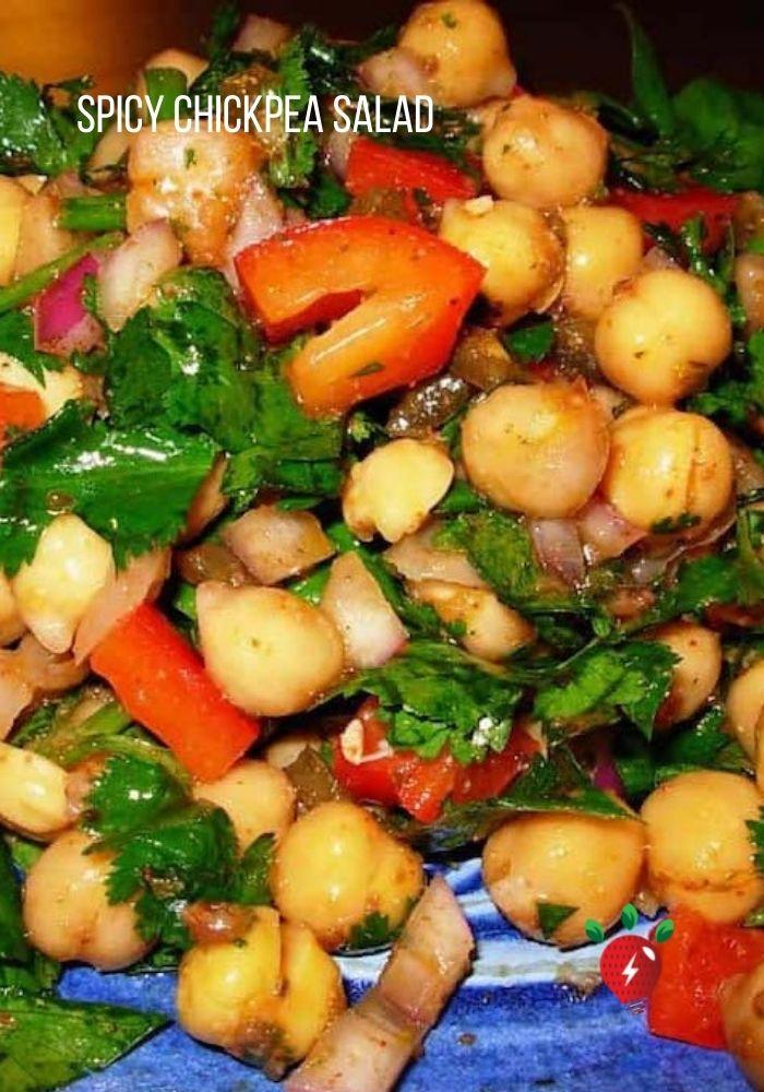 Awesome Spicy Vegan Chickpea Salad #GlutenFree #ChickpeaSalad #Vegan #Recipes #HealthyTwist #RecipeIdeaShop
