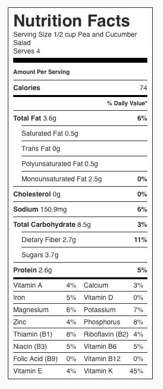 Pea and Cucumber Salad Nutrition Label. Each serving is about 1/2 cup.