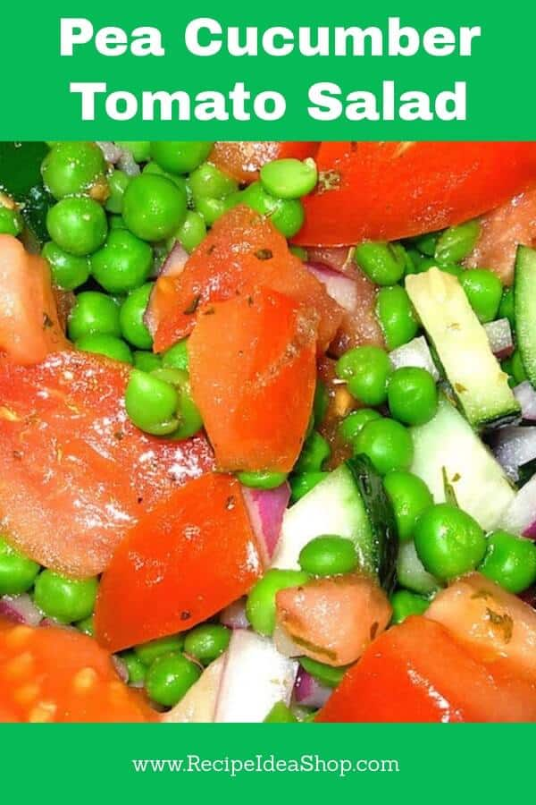 Beautiful and oh-so-tasty, this Pea and Cucumber Salad has a light, refreshing vinaigrette. Serve it in a cup at a party or in a lovely bowl. It will be gone in no time! #peaandcucumbersalad; #peascucumbersandtomatoessalad; #tarragon; #partyfood; #saladrecipes; #recipes; #recipeideashop