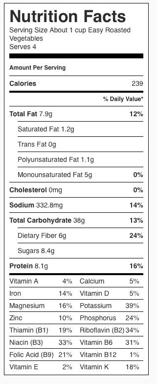 Easy Roasted Vegetables Nutrition Label. Each serving is about 1 cup.