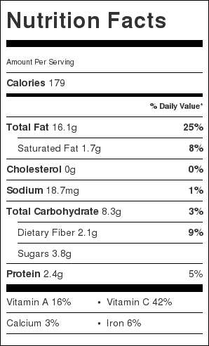 Colorful Veggies Stir Fry Nutrition Label. Each serving is about 1 cup.