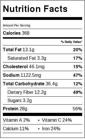 Three Bean Soup Nutrition Label. Each serving is about 3/4 cup.