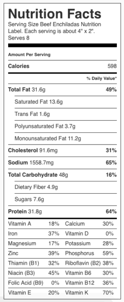 """Beef Enchiladas Nutrition Label. Each serving is about 4"""" x 2""""."""