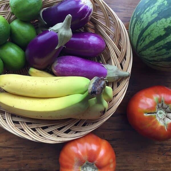 Fresh eggplant, shown with limes, bananas, tomatoes and watermelon. #freshfruitsandvegetables #recipeideashop