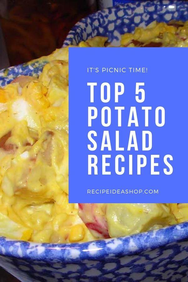 What's your favorite potato salad recipe? Here are 5 to try. #potatosaladrecipes #potatosalad #recipes #glutenfree #picnicfood #food #saladrecipes #comfortfood #recipeideashop