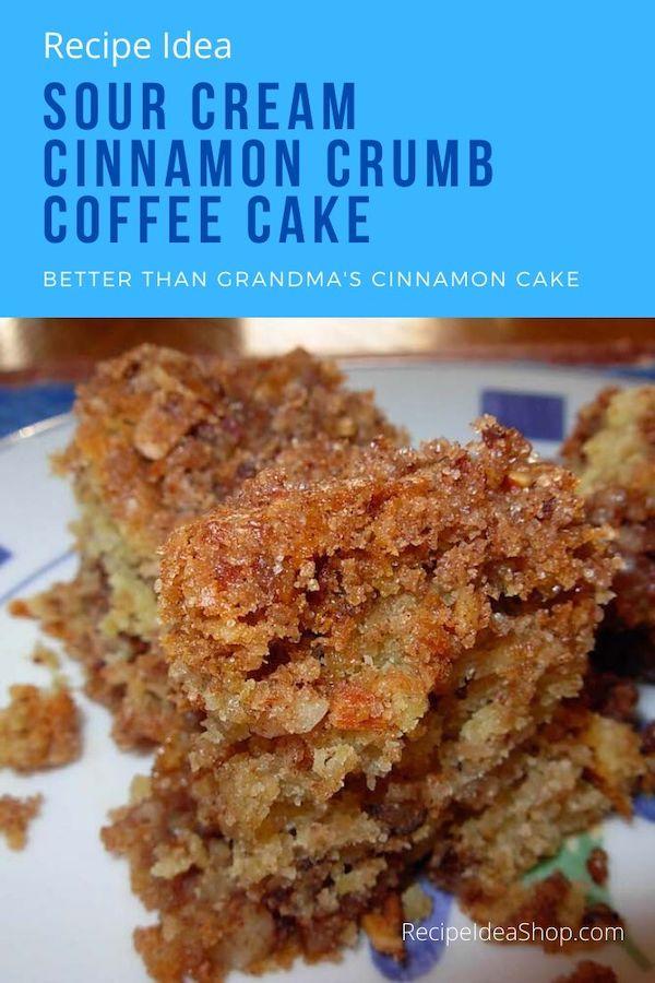 Cinnamon Crumb Coffee Cake is so stinkin' good. You know you want this. #CinnamonCrumbCoffeeCake #coffeecake #eatdessertfirst #sourcreamcoffeecake #cinnamonswirl #breakfast #dessert #recipes #recipeideashop