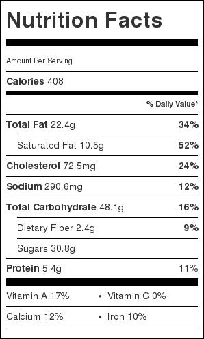 Cinnamon Crumb Coffee Cake nutrition label
