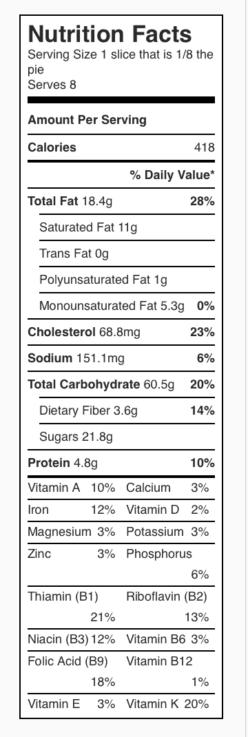 Don's Blueberry Pie Nutrition Label. Each serving is one slice of pie, 1/8 of the pie.