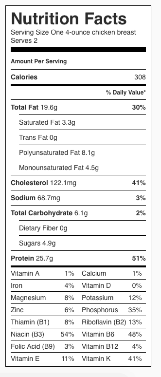 Italian Chicken Nutrition Label. Each serving is one 4-ounce chicken breast.