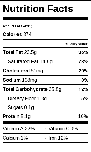 Traditional 2-Crust Pie Crust Nutrition Label (Pie Crust Only). Each serving is 1/6 pie.