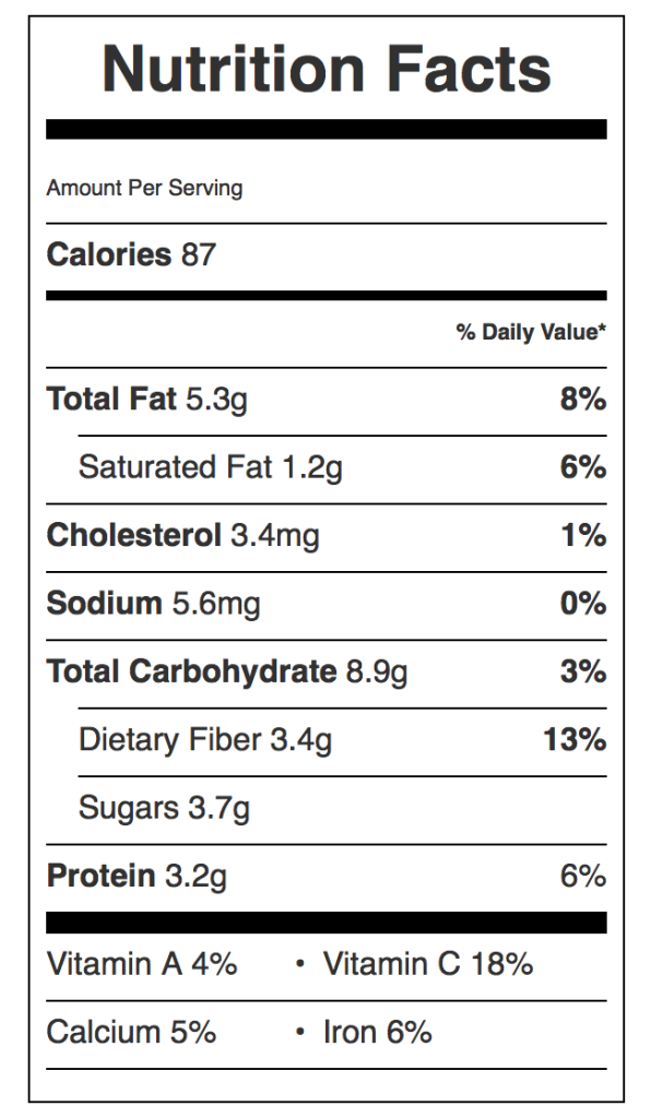 Green Beans Almandine Nutrition Label. Each serving is about 1/2 cup.