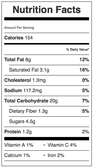 Peach Galette (Tart) Nutrition Label. Each serving is 1/8 of the tart.