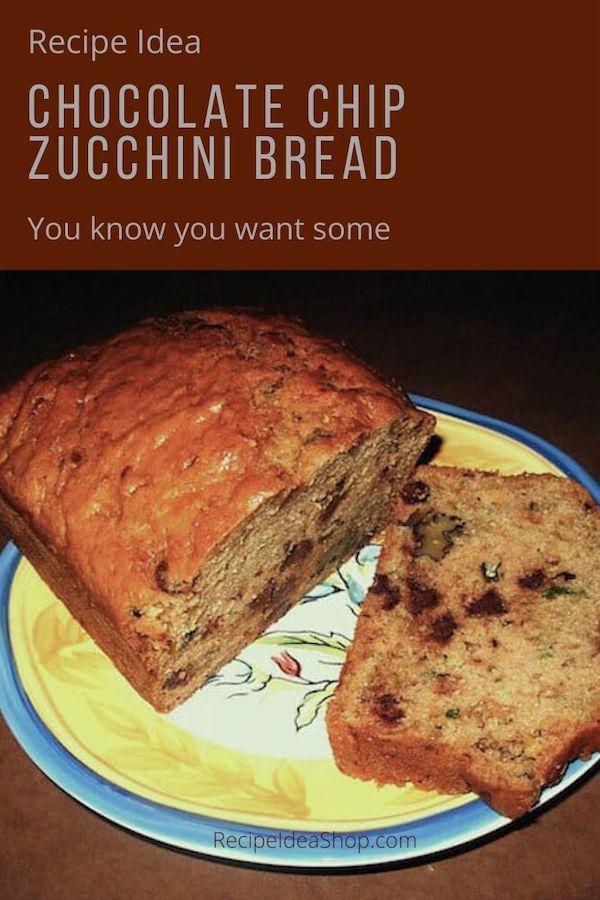Easy Chocolate Chip Zucchini Bread Recipe. #yougotthis #chocolatechipzucchinibread #chocolatezucchinibread #zucchinibread #recipes #breakfast #dessert #comfortfood #cookathome #recipeideashop
