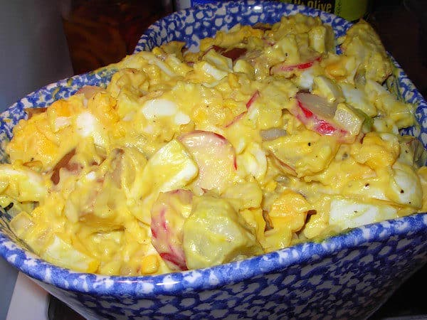 Egg-y Potato Salad with Radishes. This Potato Salad is a cross between Egg Salad and Potato Salad.