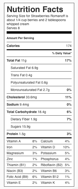 Strawberries Romanoff Nutrition Label (does not include Shortcake). Each serving is about 1/4 cup of berries and 2 tablespoons whipped cream.