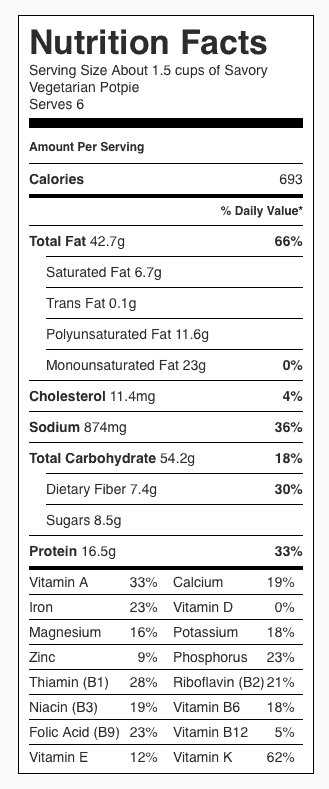 Savory Vegetarian Potpie Nutrition Label. Each serving is 1/6 the pie.