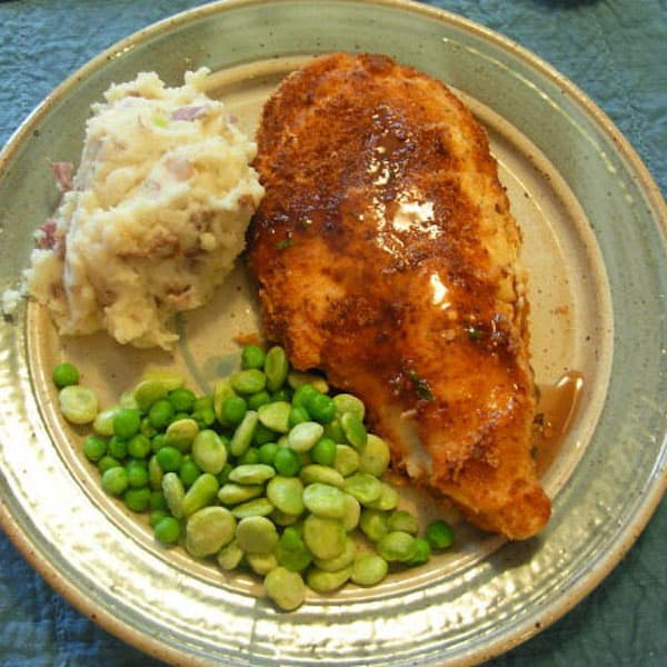Catch your own or buy it at the store, catfish makes a tasty meal.Beautiful plate by Elizabeth Krome.