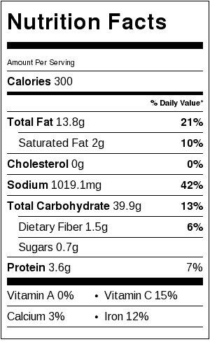 Orange Rice Nutrition Label. Each serving is 1 cup cooked rice.