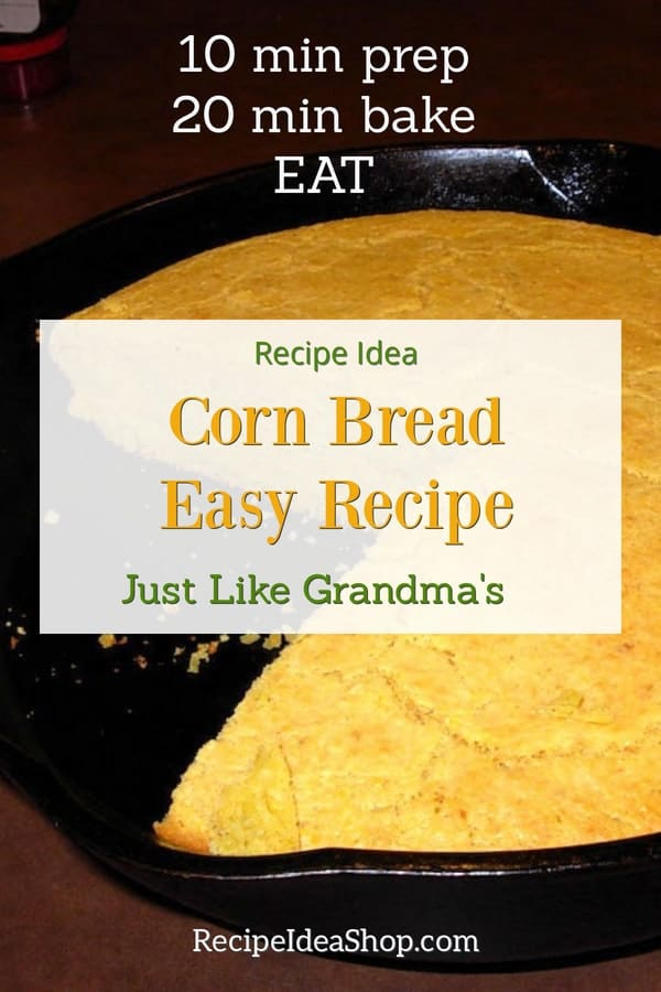 Cornbread Easy Recipe. Simple. Dump, mix, pour, bake. Mmmmm. Just like Grandma's cornbread. #cornbreadrecipe #cornbread #yougotthis #cookathome #30minrecipes #recipes #comfortfood #recipeideashop